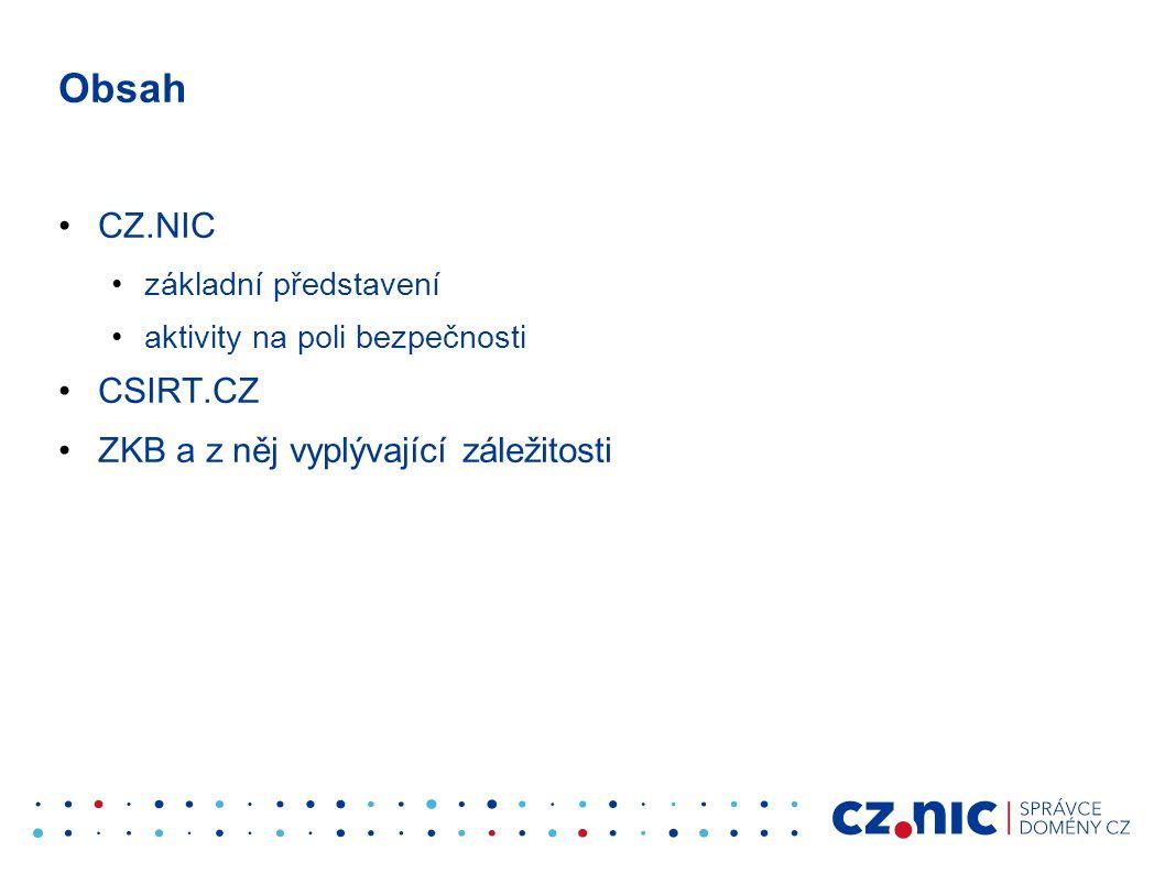 Obsah CZ.NIC základní představení aktivity na poli bezpečnosti CSIRT.CZ ZKB a z něj vyplývající záležitosti