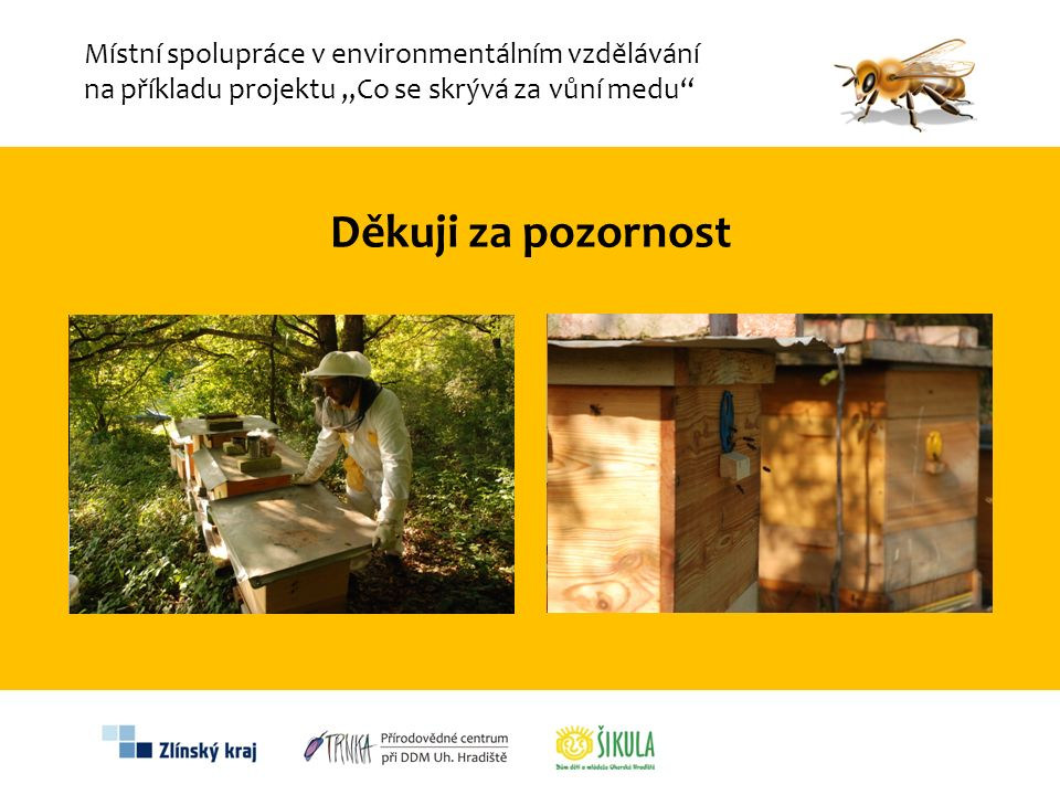 """Děkuji za pozornost Místní spolupráce v environmentálním vzdělávání na příkladu projektu """"Co se skrývá za vůní medu"""""""