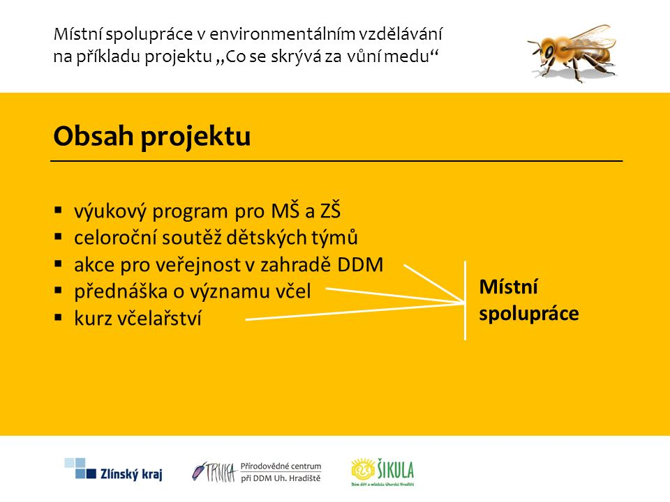 """ výukový program pro MŠ a ZŠ  celoroční soutěž dětských týmů  akce pro veřejnost v zahradě DDM  přednáška o významu včel  kurz včelařství Obsah projektu Místní spolupráce Místní spolupráce v environmentálním vzdělávání na příkladu projektu """"Co se skrývá za vůní medu"""