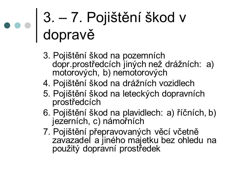 3. – 7. Pojištění škod v dopravě 3.