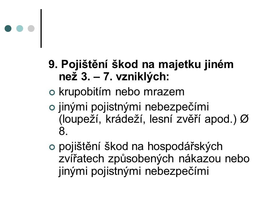9. Pojištění škod na majetku jiném než 3. – 7.