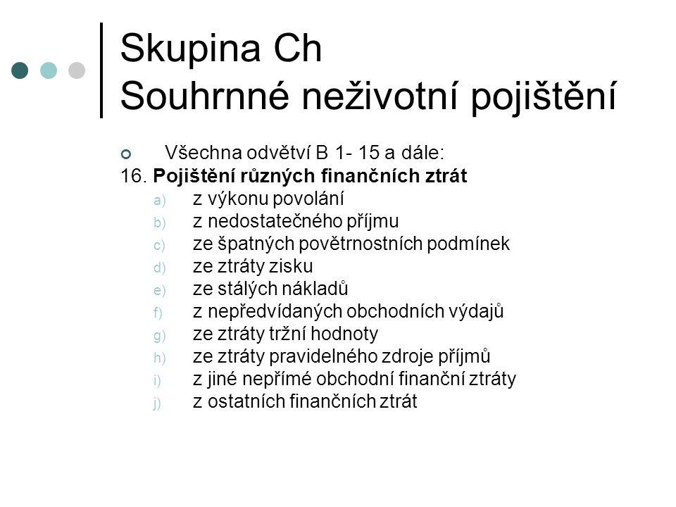 Skupina Ch Souhrnné neživotní pojištění Všechna odvětví B 1- 15 a dále: 16.