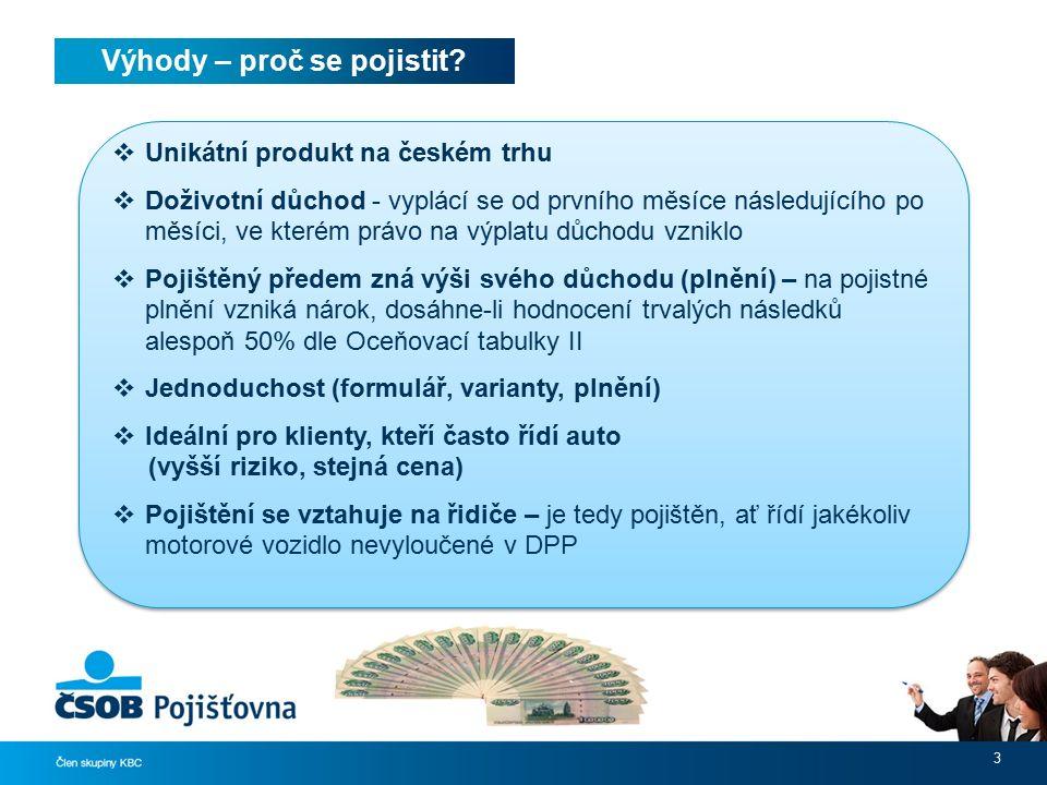 Výhody – proč se pojistit? 3  Unikátní produkt na českém trhu  Doživotní důchod - vyplácí se od prvního měsíce následujícího po měsíci, ve kterém pr