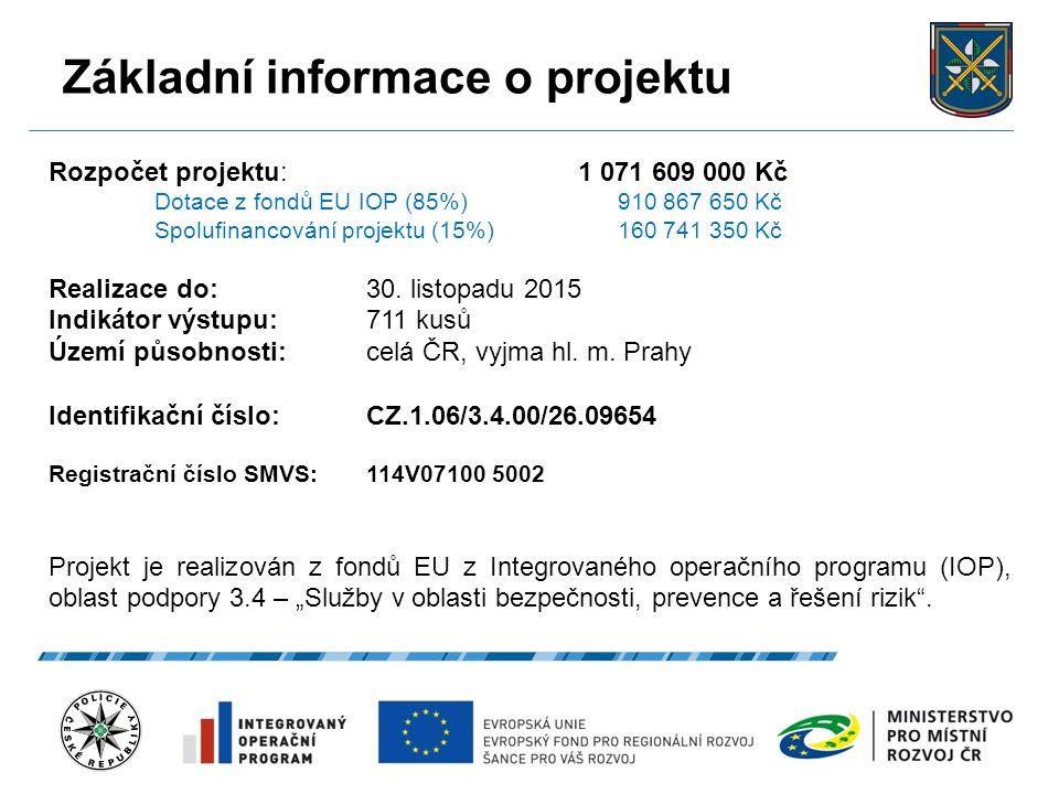 Základní informace o projektu 27.9.2016 3 Rozpočet projektu: 1 071 609 000 Kč Dotace z fondů EU IOP (85%) 910 867 650 Kč Spolufinancování projektu (15