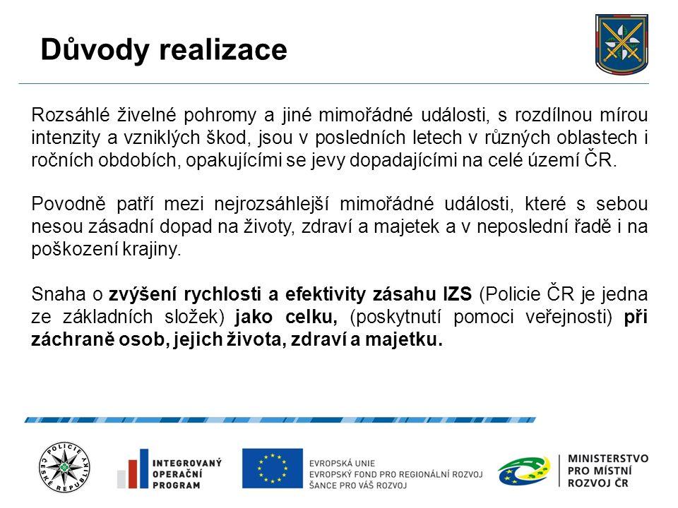 Důvody realizace 27.9.2016 4 Rozsáhlé živelné pohromy a jiné mimořádné události, s rozdílnou mírou intenzity a vzniklých škod, jsou v posledních letech v různých oblastech i ročních obdobích, opakujícími se jevy dopadajícími na celé území ČR.