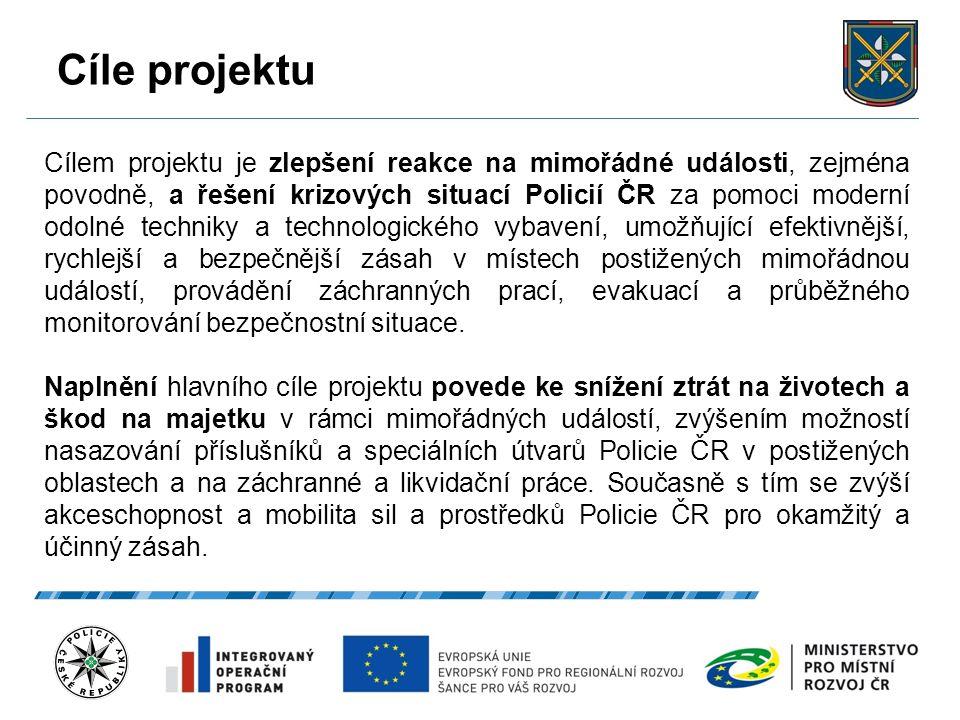 Cíle projektu 27.9.2016 5 Cílem projektu je zlepšení reakce na mimořádné události, zejména povodně, a řešení krizových situací Policií ČR za pomoci moderní odolné techniky a technologického vybavení, umožňující efektivnější, rychlejší a bezpečnější zásah v místech postižených mimořádnou událostí, provádění záchranných prací, evakuací a průběžného monitorování bezpečnostní situace.