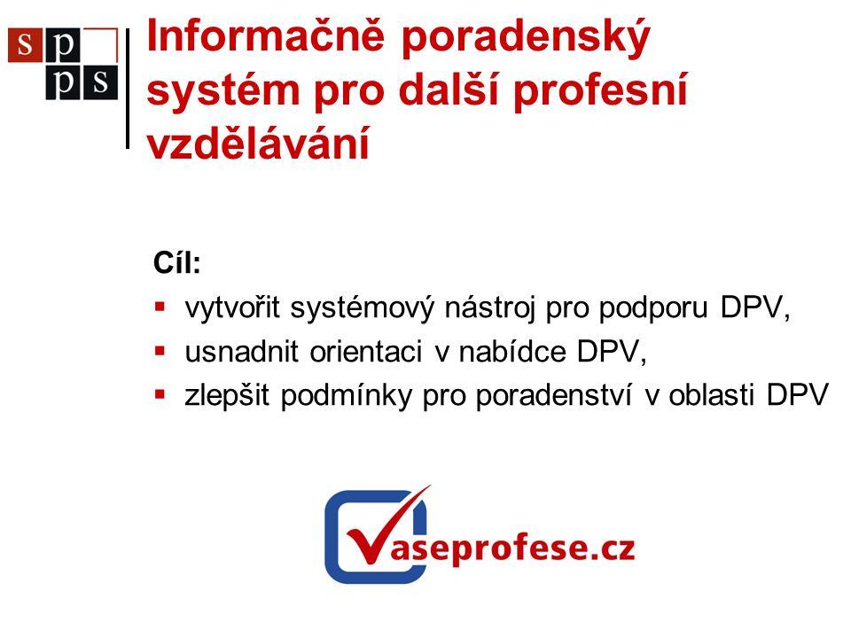 Informačně poradenský systém pro další profesní vzdělávání Cíl:  vytvořit systémový nástroj pro podporu DPV,  usnadnit orientaci v nabídce DPV,  zlepšit podmínky pro poradenství v oblasti DPV