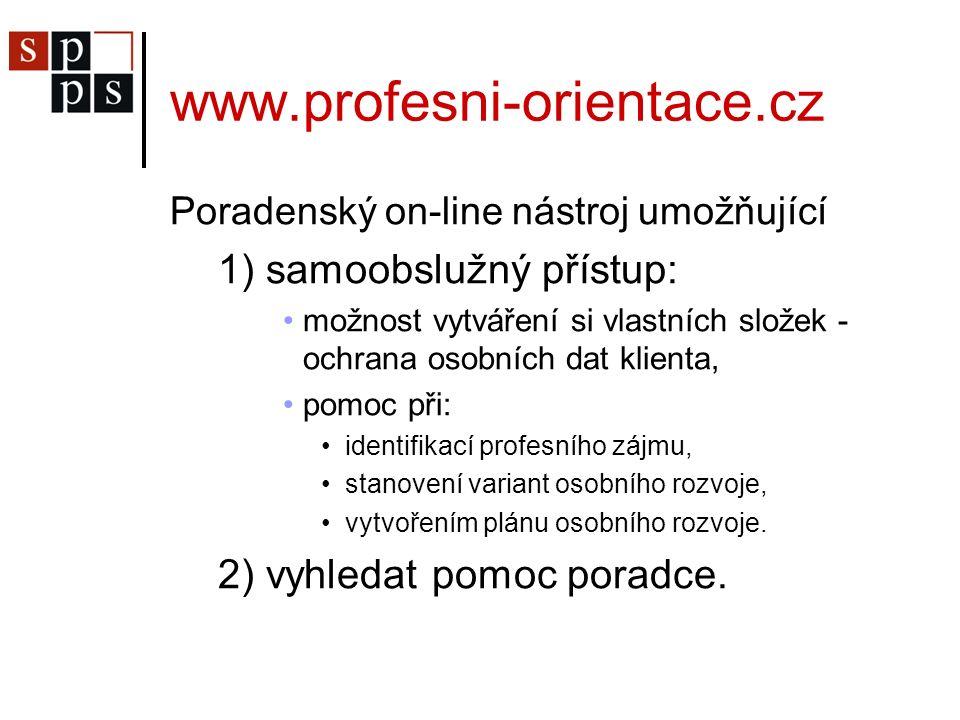www.profesni-orientace.cz Poradenský on-line nástroj umožňující 1) samoobslužný přístup: možnost vytváření si vlastních složek - ochrana osobních dat klienta, pomoc při: identifikací profesního zájmu, stanovení variant osobního rozvoje, vytvořením plánu osobního rozvoje.