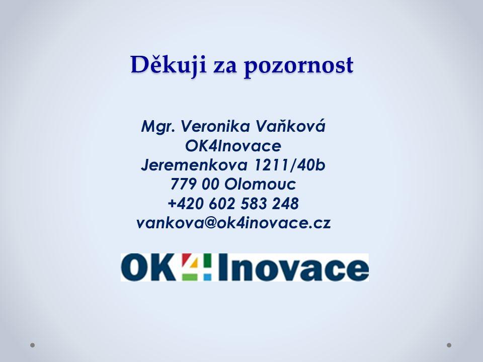Děkuji za pozornost Mgr. Veronika Vaňková OK4Inovace Jeremenkova 1211/40b 779 00 Olomouc +420 602 583 248 vankova@ok4inovace.cz