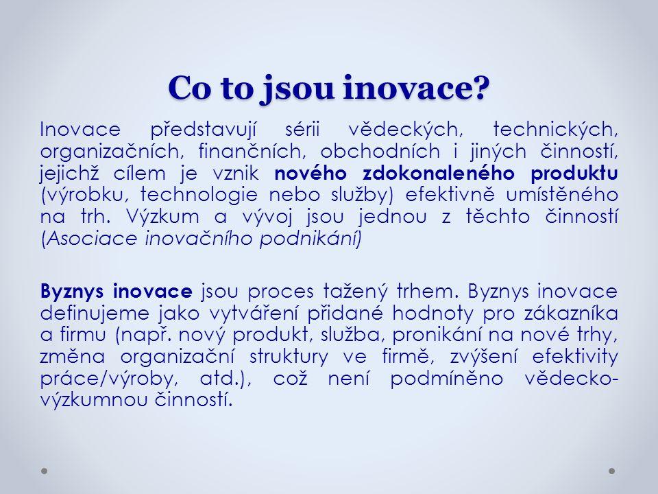 Systémový rámec Národní inovační strategie ČR: schválena vládou v září 2011, cílem je posílení významu inovací a využívání špičkových technologií jako zdroje konkurenceschopnosti ČR a zvyšování jejich přínosů pro dlouhodobý hospodářský růst, pro tvorbu kvalitních pracovních míst a pro rozvoj kvality života na území ČR.