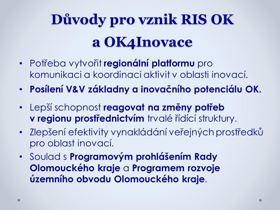 Důvody pro vznik RIS OK a OK4Inovace Potřeba vytvořit regionální platformu pro komunikaci a koordinaci aktivit v oblasti inovací. Posílení V&V základn