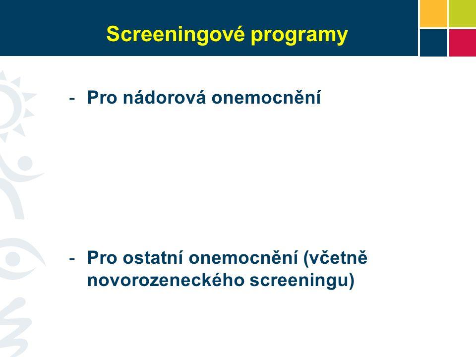 Screeningové programy -Pro nádorová onemocnění -Pro ostatní onemocnění (včetně novorozeneckého screeningu)
