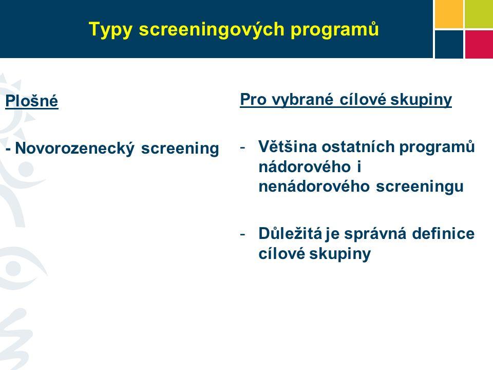 Typy screeningových programů Plošné - Novorozenecký screening Pro vybrané cílové skupiny -Většina ostatních programů nádorového i nenádorového screeni