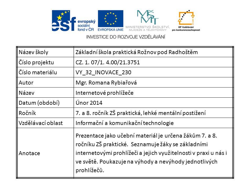 Název školyZákladní škola praktická Rožnov pod Radhoštěm Číslo projektuCZ.