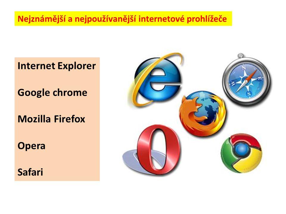 Nejznámější a nejpoužívanější internetové prohlížeče Internet Explorer Google chrome Mozilla Firefox Opera Safari