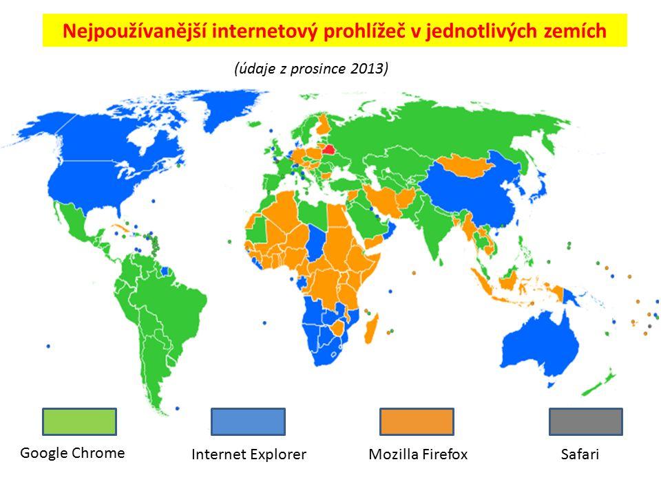 Google Chrome Internet ExplorerMozilla Firefox Safari Nejpoužívanější internetový prohlížeč v jednotlivých zemích (údaje z prosince 2013)