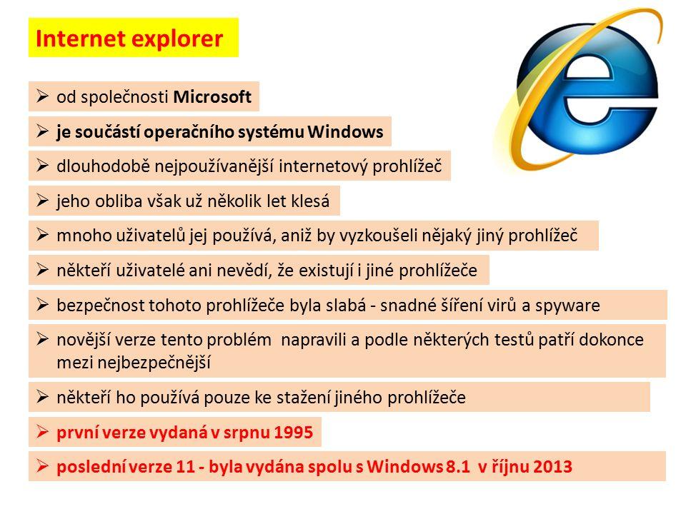  od společnosti Microsoft  mnoho uživatelů jej používá, aniž by vyzkoušeli nějaký jiný prohlížeč  první verze vydaná v srpnu 1995  poslední verze 11 - byla vydána spolu s Windows 8.1 v říjnu 2013  někteří ho používá pouze ke stažení jiného prohlížeče Internet explorer  dlouhodobě nejpoužívanější internetový prohlížeč  jeho obliba však už několik let klesá  je součástí operačního systému Windows  někteří uživatelé ani nevědí, že existují i jiné prohlížeče  bezpečnost tohoto prohlížeče byla slabá - snadné šíření virů a spyware  novější verze tento problém napravili a podle některých testů patří dokonce mezi nejbezpečnější