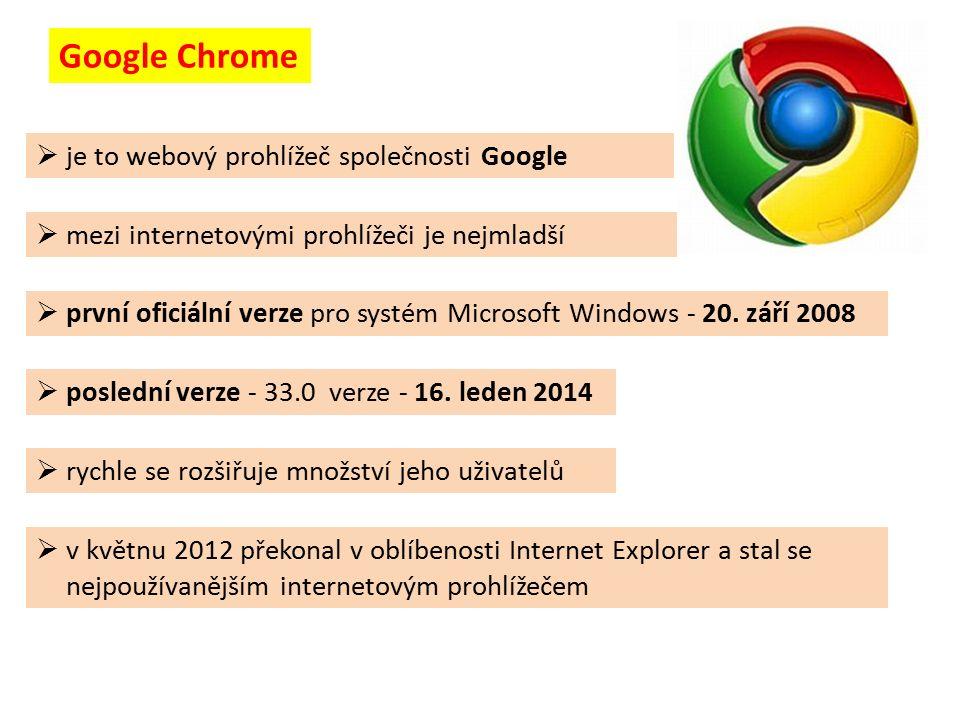 Google Chrome  mezi internetovými prohlížeči je nejmladší  je to webový prohlížeč společnosti Google  v květnu 2012 překonal v oblíbenosti Internet Explorer a stal se nejpoužívanějším internetovým prohlížečem  první oficiální verze pro systém Microsoft Windows - 20.