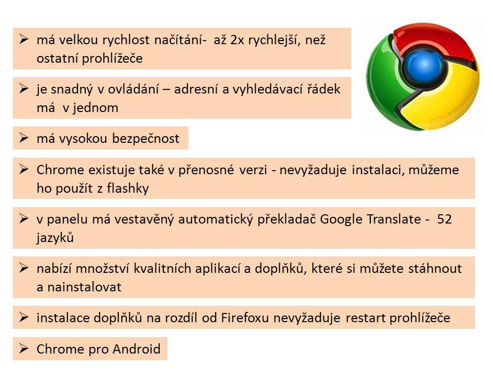  nabízí množství kvalitních aplikací a doplňků, které si můžete stáhnout a nainstalovat  instalace doplňků na rozdíl od Firefoxu nevyžaduje restart prohlížeče  má velkou rychlost načítání- až 2x rychlejší, než ostatní prohlížeče  Chrome existuje také v přenosné verzi - nevyžaduje instalaci, můžeme ho použít z flashky  Chrome pro Android  v panelu má vestavěný automatický překladač Google Translate - 52 jazyků  má vysokou bezpečnost  je snadný v ovládání – adresní a vyhledávací řádek má v jednom