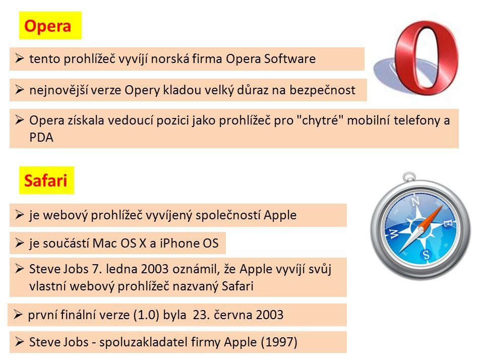  tento prohlížeč vyvíjí norská firma Opera Software  nejnovější verze Opery kladou velký důraz na bezpečnost  Opera získala vedoucí pozici jako prohlížeč pro chytré mobilní telefony a PDA  první finální verze (1.0) byla 23.