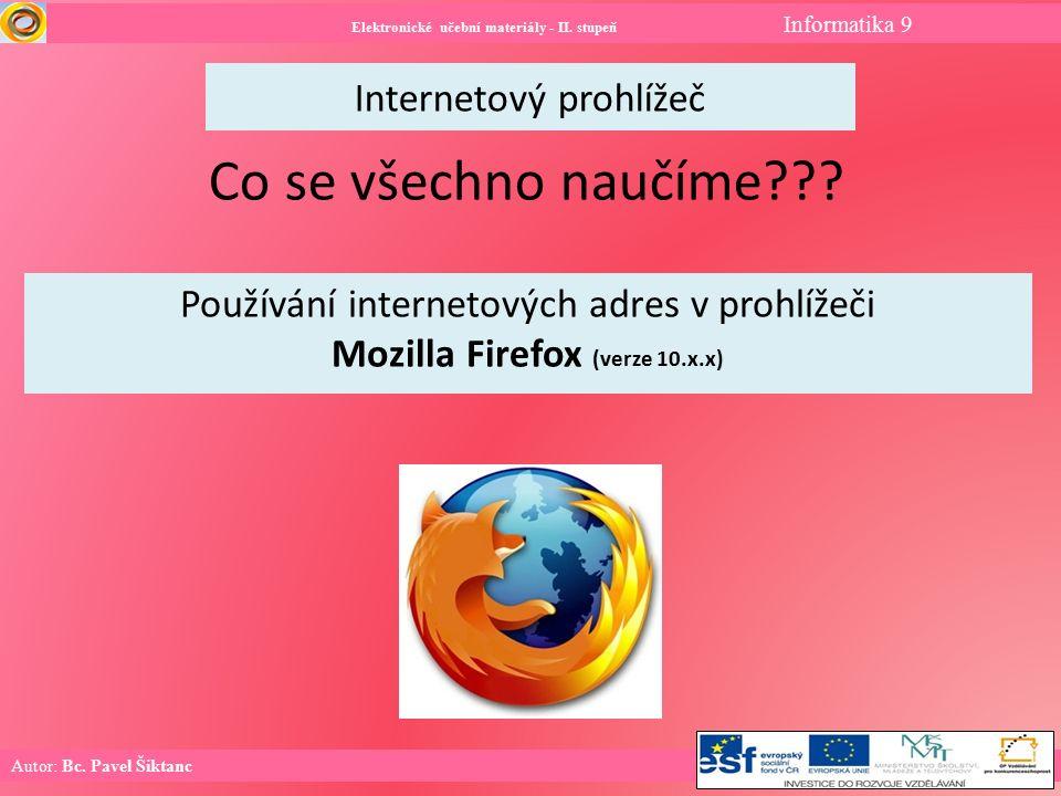 Internetový prohlížeč Elektronické učební materiály - II.
