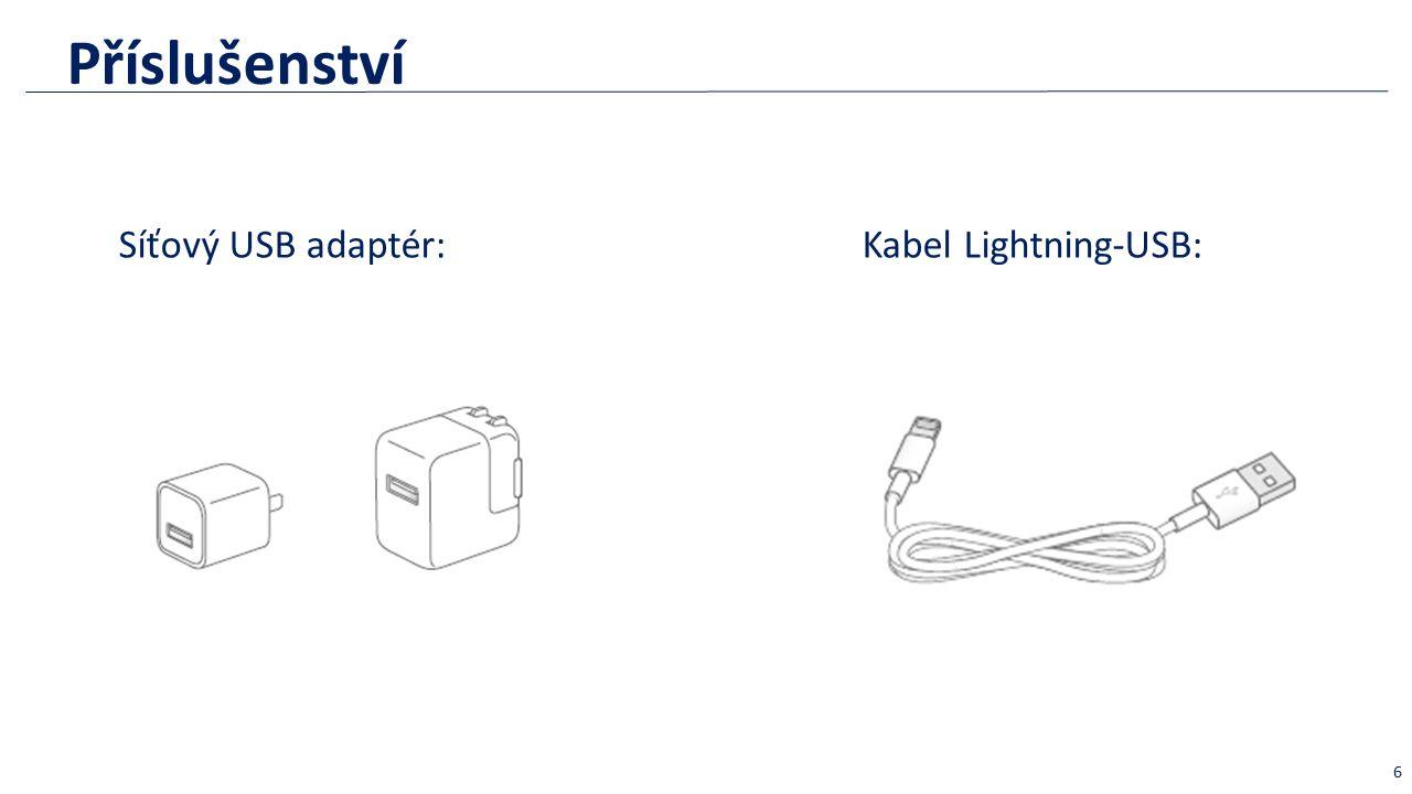 Příslušenství Síťový USB adaptér: 6 Kabel Lightning-USB: