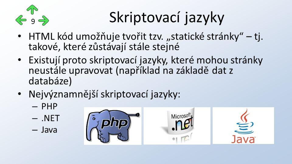 """HTML kód umožňuje tvořit tzv. """"statické stránky – tj."""