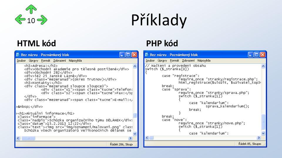 Příklady HTML kódPHP kód 10