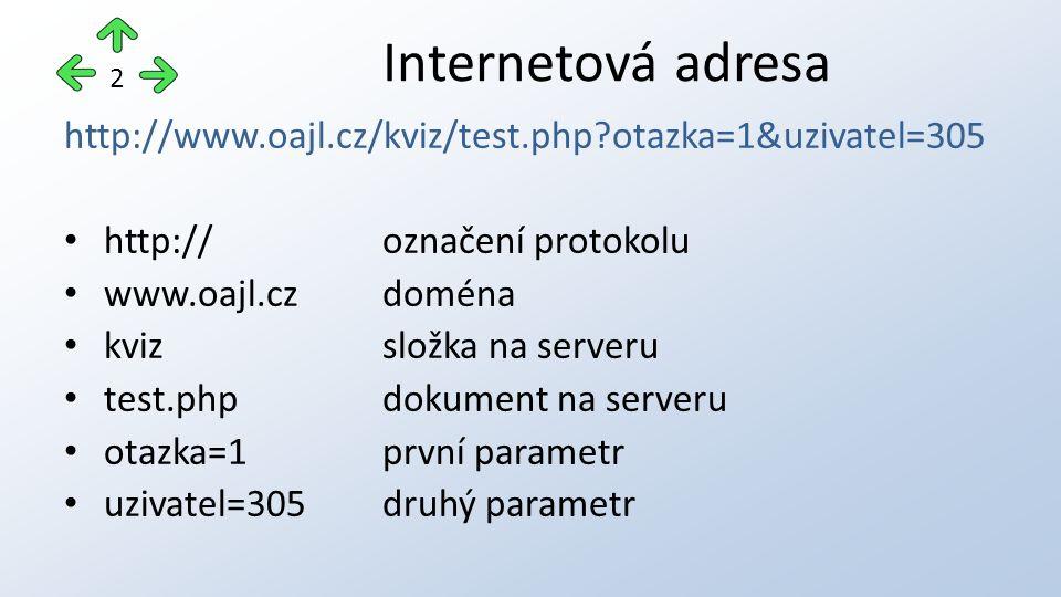 http://www.oajl.cz/kviz/test.php otazka=1&uzivatel=305 http://označení protokolu www.oajl.czdoména kvizsložka na serveru test.phpdokument na serveru otazka=1první parametr uzivatel=305druhý parametr Internetová adresa 2