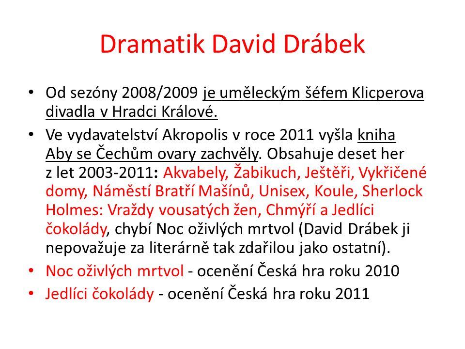 Dramatik David Drábek Od sezóny 2008/2009 je uměleckým šéfem Klicperova divadla v Hradci Králové. Ve vydavatelství Akropolis v roce 2011 vyšla kniha A