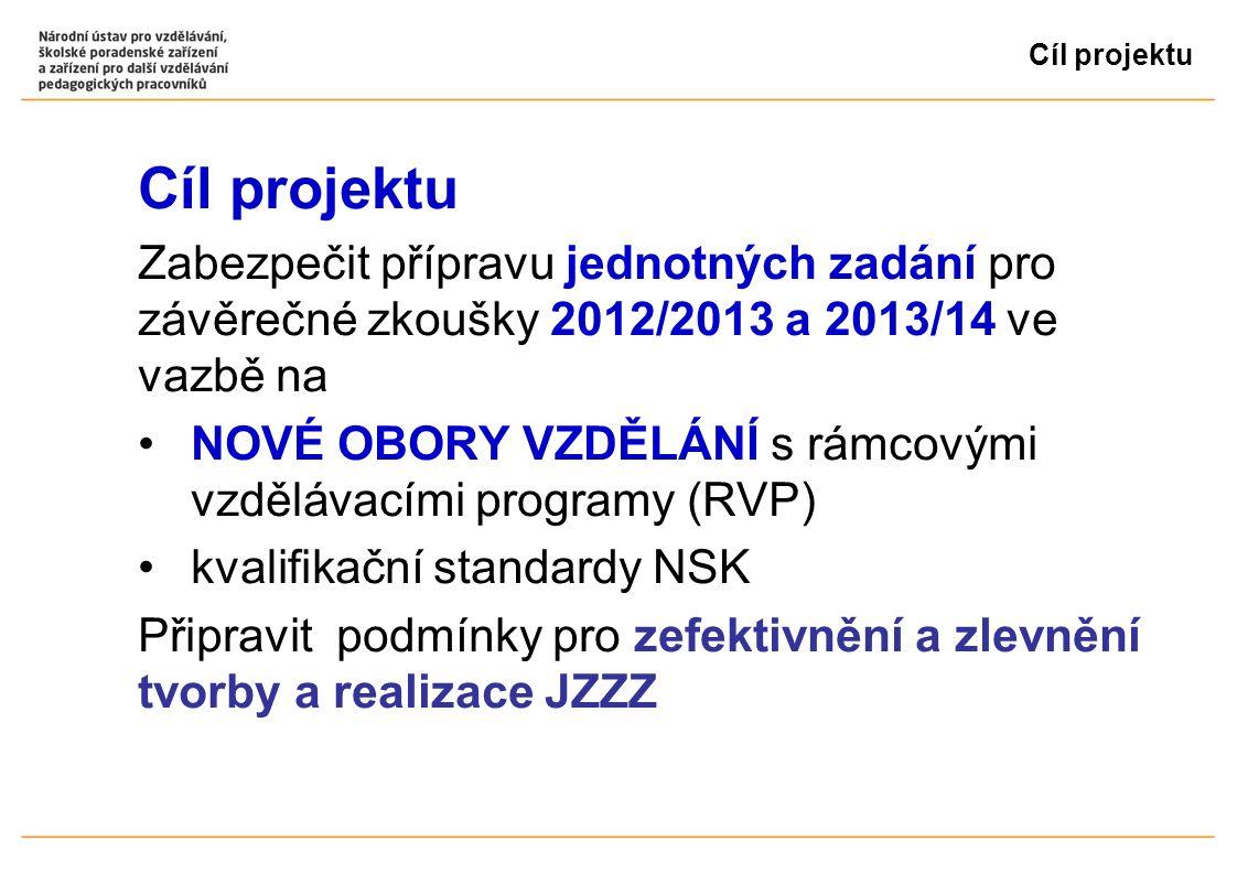 Cíl projektu Zabezpečit přípravu jednotných zadání pro závěrečné zkoušky 2012/2013 a 2013/14 ve vazbě na NOVÉ OBORY VZDĚLÁNÍ s rámcovými vzdělávacími programy (RVP) kvalifikační standardy NSK Připravit podmínky pro zefektivnění a zlevnění tvorby a realizace JZZZ
