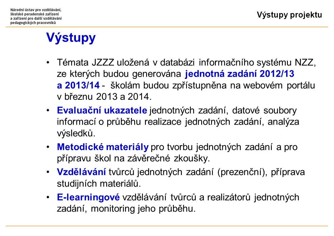 Výstupy projektu Výstupy Témata JZZZ uložená v databázi informačního systému NZZ, ze kterých budou generována jednotná zadání 2012/13 a 2013/14 - školám budou zpřístupněna na webovém portálu v březnu 2013 a 2014.