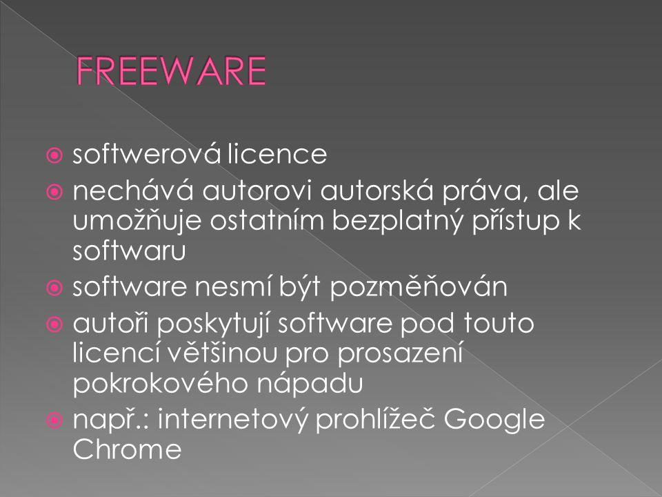  počítačový program  nejčastěji se jedná o variantu, kdy je bezplatné použití časově omezeno  např.: Multimediální přehrávač MPEGPlayer