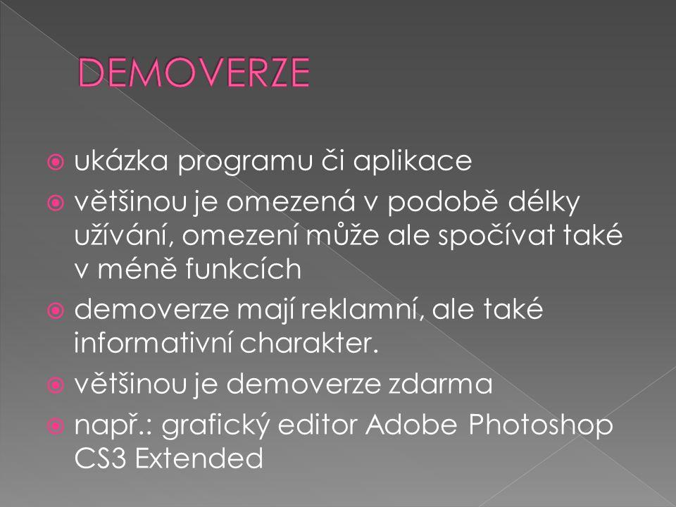  autor se vzdal autorských práv  program může být všemi osobami volně užíván, i pro komerční účely  v tomto programu se mohou dělat změny  např.: Mapa Prahy v XCF
