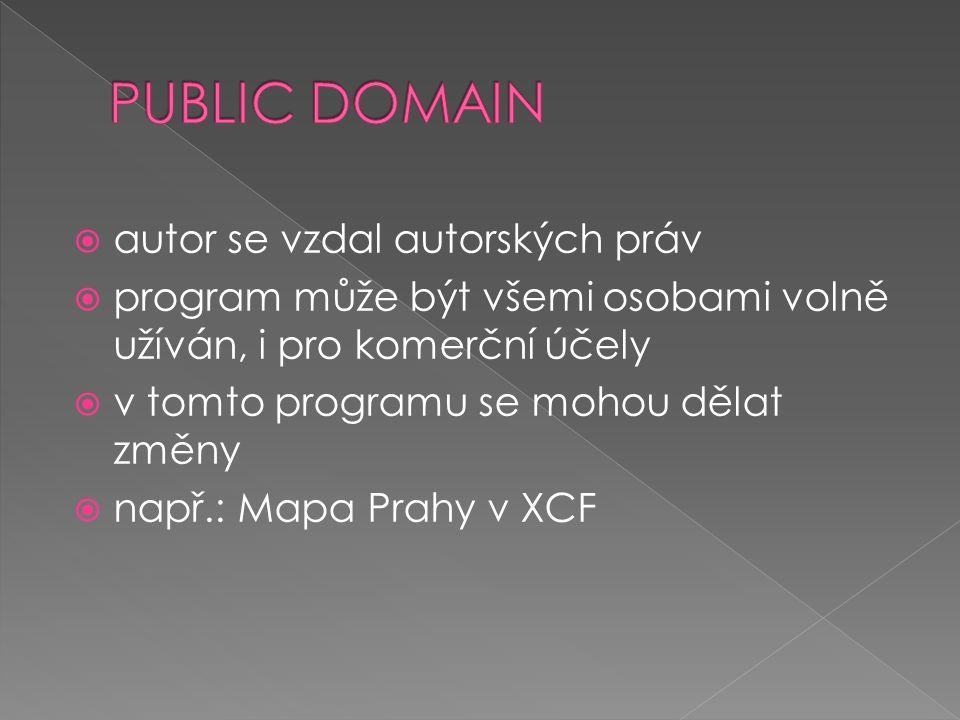  za dlouhodobé používání sharewaru se platí  v programu public domain se mohou dělat změny  demoverze je pouze ukázka programu, nebo aplikace