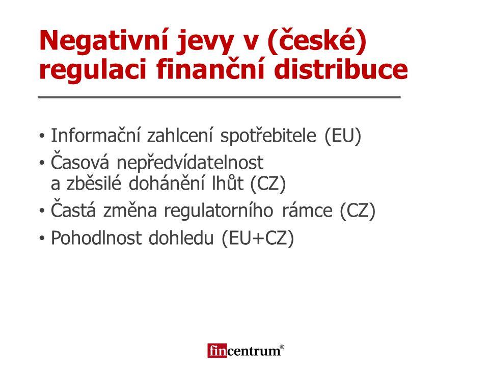 Negativní jevy v (české) regulaci finanční distribuce Informační zahlcení spotřebitele (EU) Časová nepředvídatelnost a zběsilé dohánění lhůt (CZ) Čast