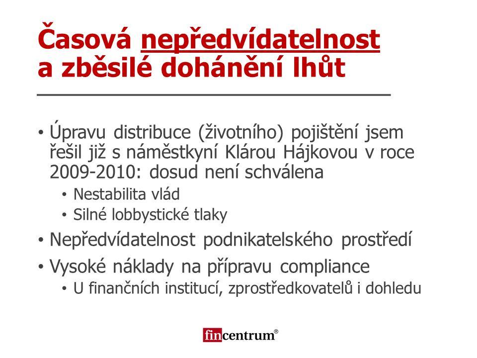 Časová nepředvídatelnost a zběsilé dohánění lhůt Úpravu distribuce (životního) pojištění jsem řešil již s náměstkyní Klárou Hájkovou v roce 2009-2010: