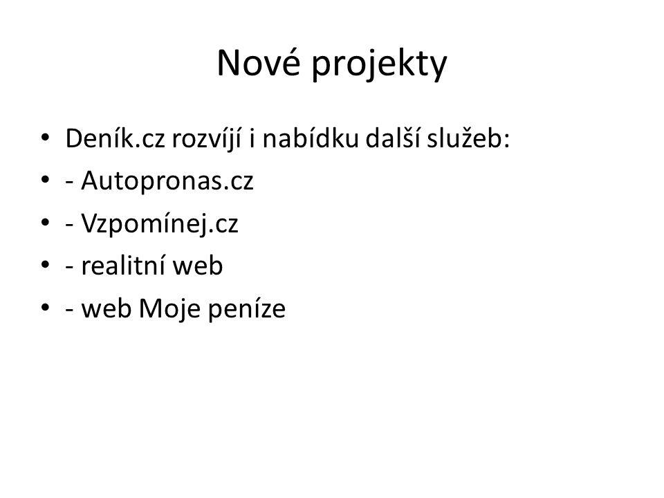 Nové projekty Deník.cz rozvíjí i nabídku další služeb: - Autopronas.cz - Vzpomínej.cz - realitní web - web Moje peníze