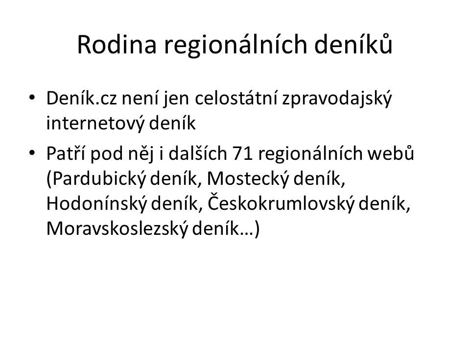 Rodina regionálních deníků Deník.cz není jen celostátní zpravodajský internetový deník Patří pod něj i dalších 71 regionálních webů (Pardubický deník, Mostecký deník, Hodonínský deník, Českokrumlovský deník, Moravskoslezský deník…)