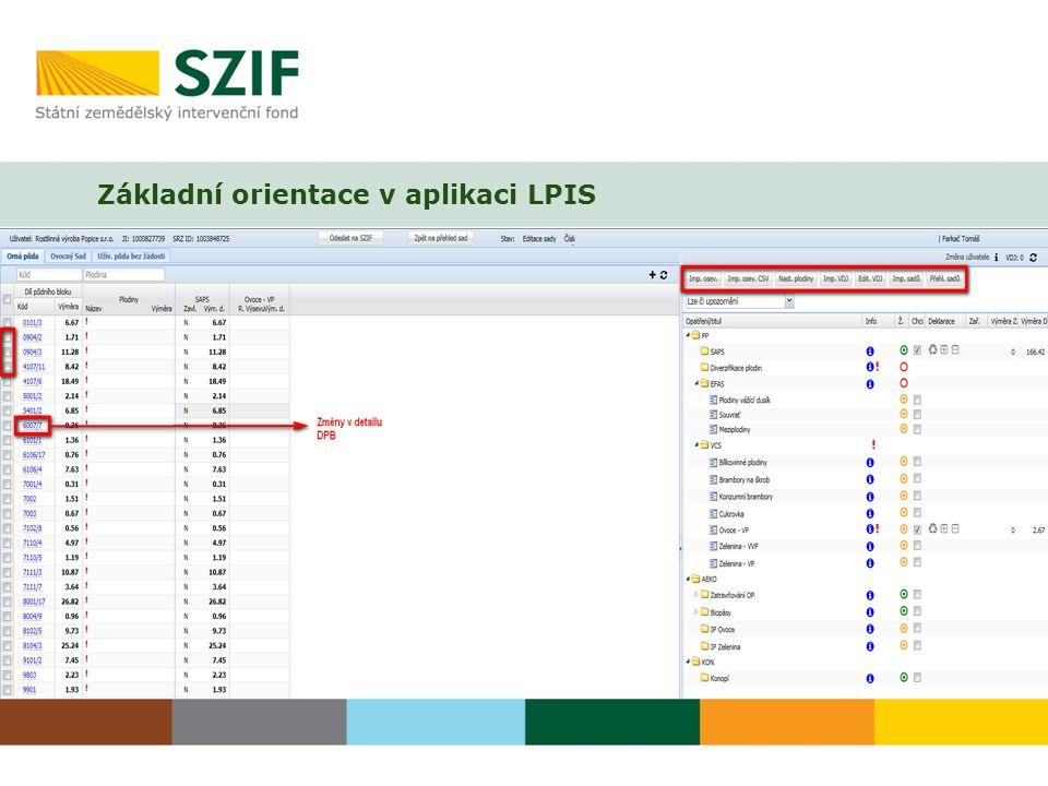 Základní orientace v aplikaci LPIS