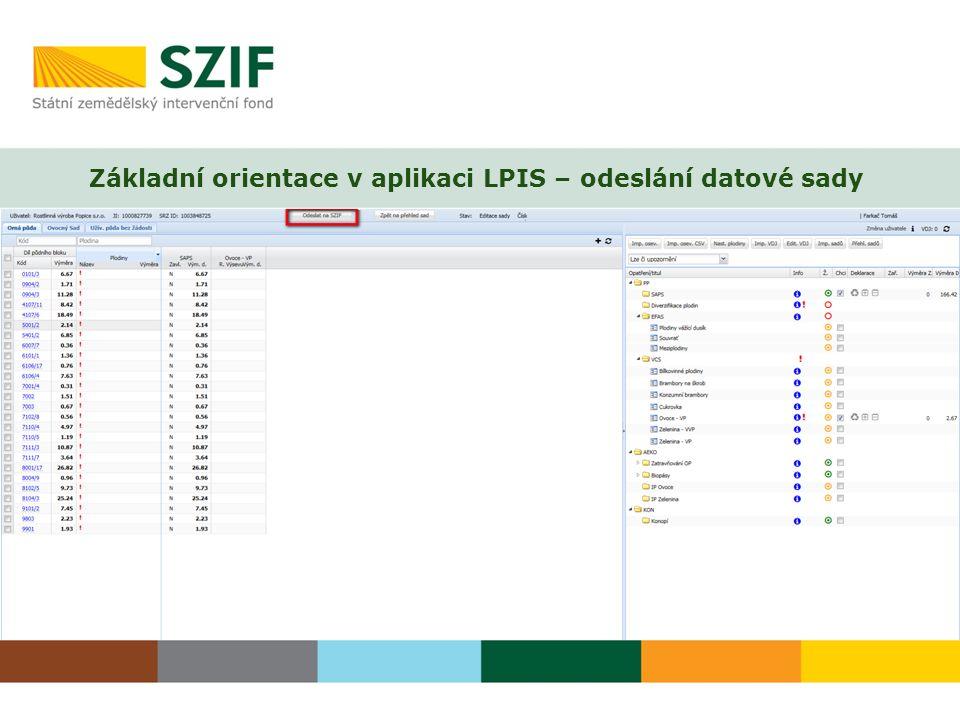 Základní orientace v aplikaci LPIS – odeslání datové sady