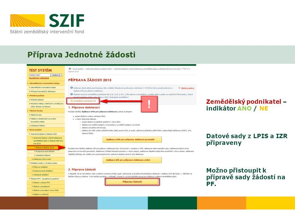 Příprava Jednotné žádosti Zemědělský podnikatel – indikátor ANO / NE Datové sady z LPIS a IZR připraveny Možno přistoupit k přípravě sady žádostí na PF.