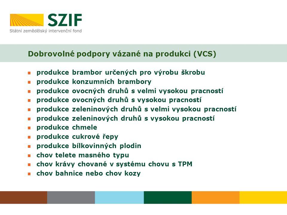 Dobrovolné podpory vázané na produkci (VCS) produkce brambor určených pro výrobu škrobu produkce konzumních brambory produkce ovocných druhů s velmi v
