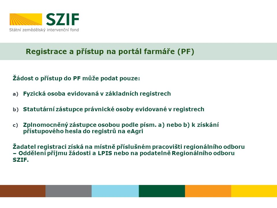 Registrovaní žadatelé se mohou přihlásit z internetových stránek Fondu. Přihlášení na PF SZIF