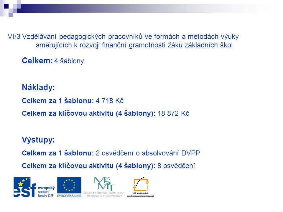 VI/3 Vzdělávání pedagogických pracovníků ve formách a metodách výuky směřujících k rozvoji finanční gramotnosti žáků základních škol Celkem: 4 šablony Náklady: Celkem za 1 šablonu: 4 718 Kč Celkem za klíčovou aktivitu (4 šablony): 18 872 Kč Výstupy: Celkem za 1 šablonu: 2 osvědčení o absolvování DVPP Celkem za klíčovou aktivitu (4 šablony): 8 osvědčení