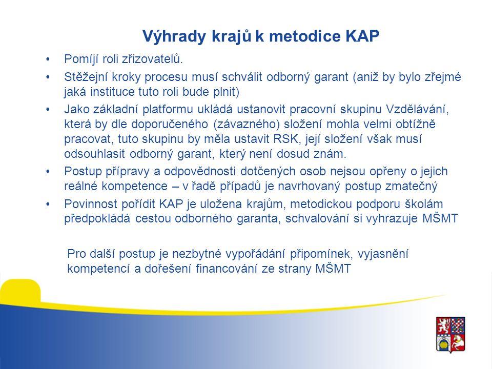 Výhrady krajů k metodice KAP Pomíjí roli zřizovatelů.