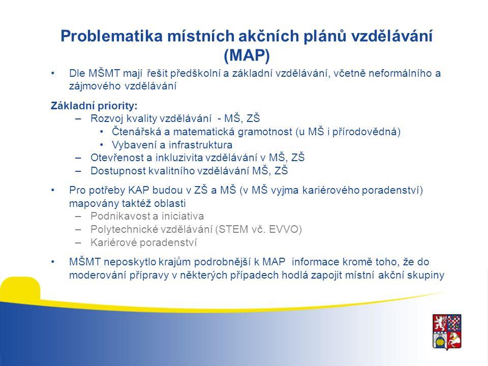 Problematika místních akčních plánů vzdělávání (MAP) Dle MŠMT mají řešit předškolní a základní vzdělávání, včetně neformálního a zájmového vzdělávání Základní priority: –Rozvoj kvality vzdělávání - MŠ, ZŠ Čtenářská a matematická gramotnost (u MŠ i přírodovědná) Vybavení a infrastruktura –Otevřenost a inkluzivita vzdělávání v MŠ, ZŠ –Dostupnost kvalitního vzdělávání MŠ, ZŠ Pro potřeby KAP budou v ZŠ a MŠ (v MŠ vyjma kariérového poradenství) mapovány taktéž oblasti –Podnikavost a iniciativa –Polytechnické vzdělávání (STEM vč.