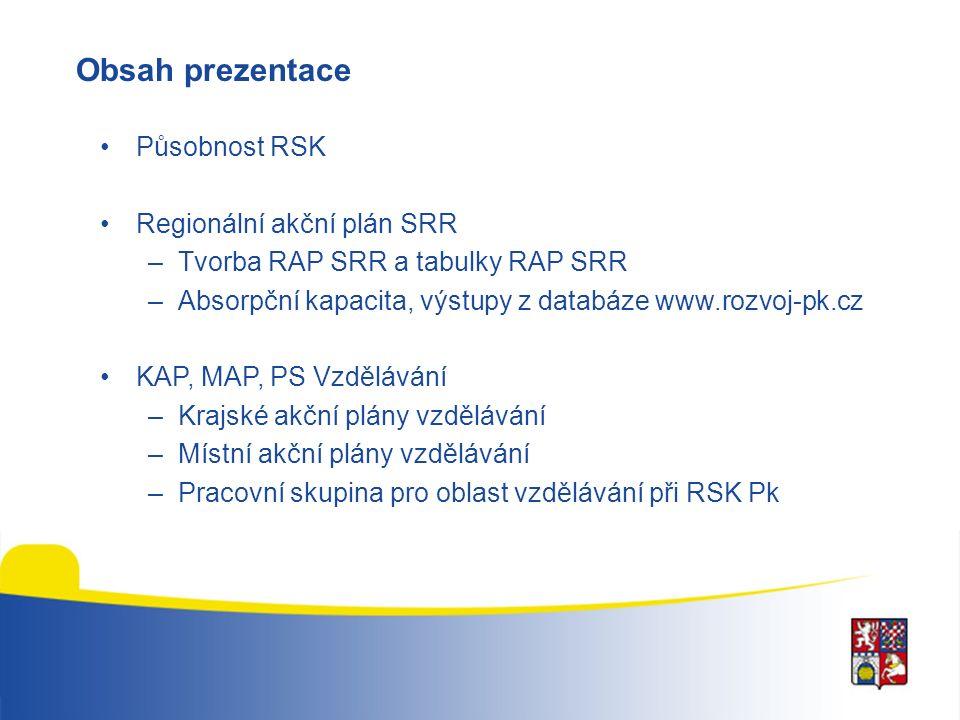 Obsah prezentace Působnost RSK Regionální akční plán SRR –Tvorba RAP SRR a tabulky RAP SRR –Absorpční kapacita, výstupy z databáze www.rozvoj-pk.cz KAP, MAP, PS Vzdělávání –Krajské akční plány vzdělávání –Místní akční plány vzdělávání –Pracovní skupina pro oblast vzdělávání při RSK Pk