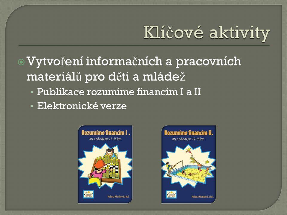  Vytvo ř ení informa č ních a pracovních materiál ů pro d ě ti a mláde ž Publikace rozumíme financím I a II Elektronické verze