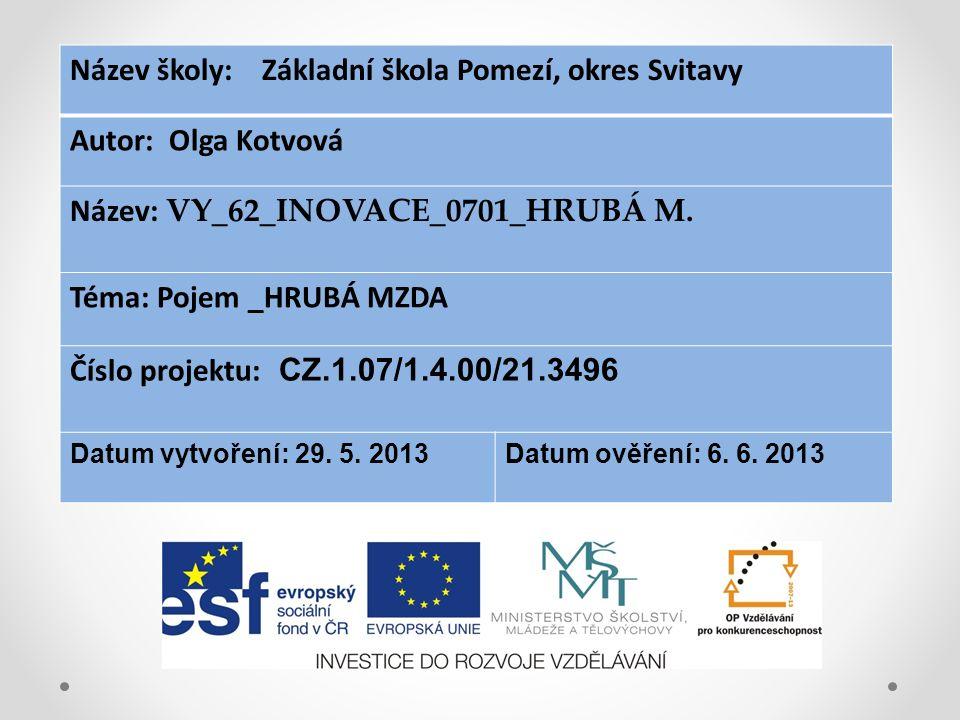 Název školy: Základní škola Pomezí, okres Svitavy Autor: Olga Kotvová Název: VY_62_INOVACE_0701_HRUBÁ M.